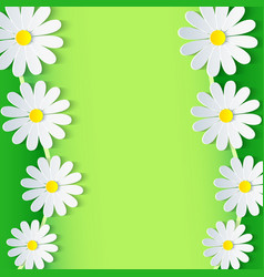 Floral green frame with 3d chamomile flower vector image
