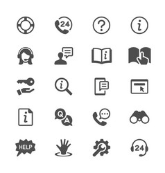 help and support glyph icons vector image vector image