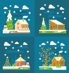 Christmas light decoration flat design vector image