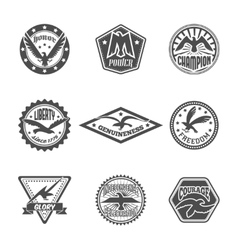 Eagle label icon set vector image vector image