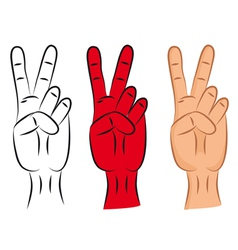hand victory sign vector image vector image