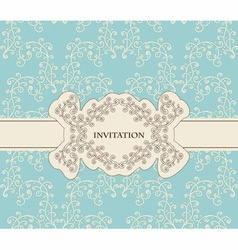 invitation on floral frame and seamless floral vector image vector image