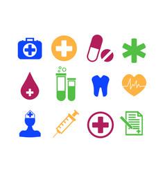 medicine and health flat icon set vector image