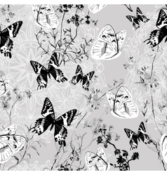 Seamless floral background with butterflies vector image