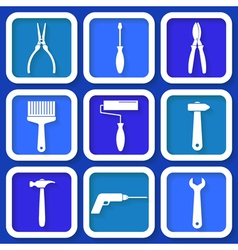 Set of 9 retro blue workers tools vector image vector image