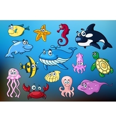 Cartoon funny sea animals characters vector image vector image