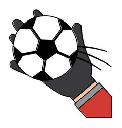 hand holding football ball sport vector image