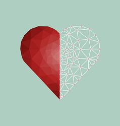 Low polygonal of red heart with white line vector image vector image