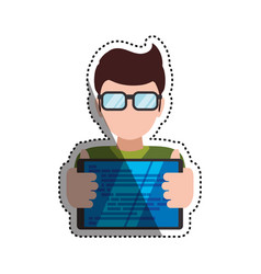 Man holding tablet glasses vector