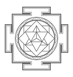 Monocrome outline merkaba yantra vector