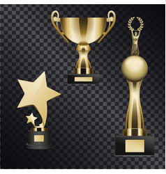 realistic golden trophy cups set vector image