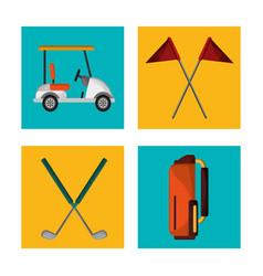 set golf equipment design vector image vector image