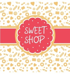 Sweet shop logo with the image of cake vector image