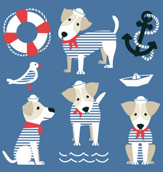 terrier as a sailor and marine objects ison set vector image