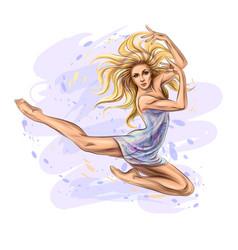 the dancing girl vector image