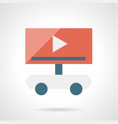 Video ads on wheels flat simple icon vector