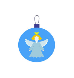 A christmas ball with angel icon vector