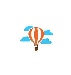 airship flying balloon in clouds logo vector image