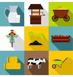 Animal farm icons set flat style vector