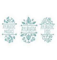 Ayurveda medicine banner set vector