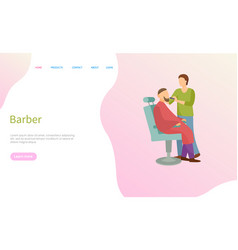 barber service man on chair and barbershop master vector image