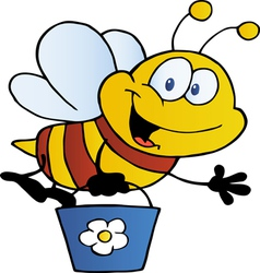 bee waving and flying with a bucket vector image