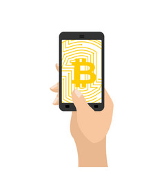 bitcoin in phone crypto currency and device vector image