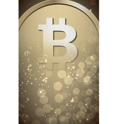 bitcoin sign on blurred background vector image