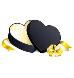 Black gift open box heart shape vector