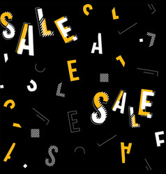 Black white and yellow sale typography vector