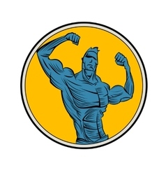 Bodybuilder from the front double biceps vector