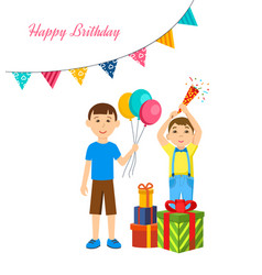 Boys celebrate together with presents and poppers vector