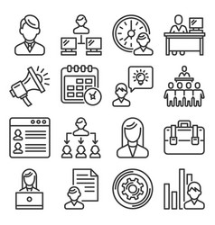 business administrator and organization icons set vector image