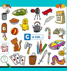 C is for educational task for children vector