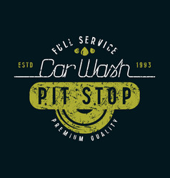 car wash and pit stop emblem vector image