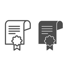 Certificate paper line and glyph icon diploma vector