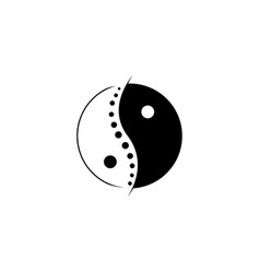 Chinese yin and yang chiropractic logo spine vector