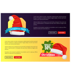 christmas sale web banners buttons santa claus hat vector image