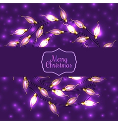Colorful Glowing Christmas Lights on violet vector