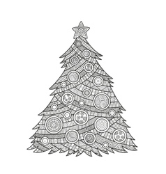 Coloring for adults Christmas tree vector