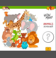 Counting cartoon wild animals educational game vector