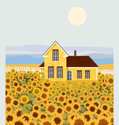 countryside house with sunflower growing in front vector image