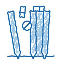 Cricket equipment doodle icon hand drawn vector