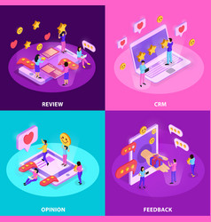 crm system isometric design concept vector image