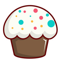 Cupcake garnished with sprinkles icon vector