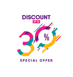 Discount label up to 30 special offer template vector