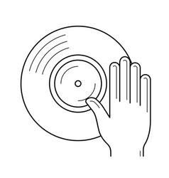 Dj remix line icon vector
