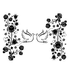 doves with flourishes 3 vector image