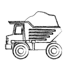 Dump truck with load in monochrome blurred vector