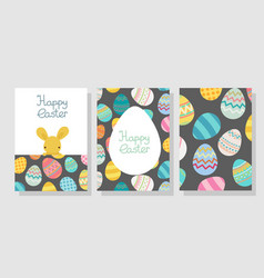 easter egg frame template with rabbit vector image